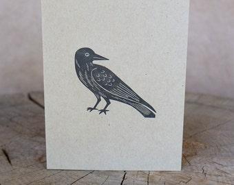 Letterpress Greeting Card, Black Bird – Kraft