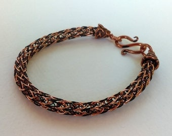 Two-Toned Copper and Black Viking Knit Bracelet with S-hook clasp