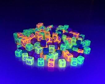 300 UV Neon Multicolor Cubic Alphabet Kandi Beads