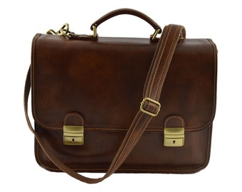 Leather Business Bag - Maniva - Tuscan Leather, Genuine leather Business Bag 100% Made in Italy