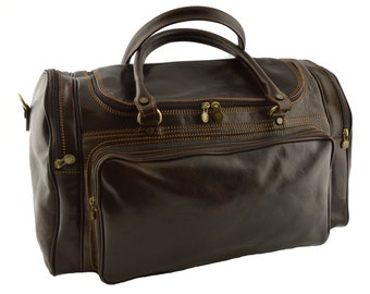 Leather Travel Bag - Marinea - Tuscan Leather, Genuine leather Travel Bag 100% Made in Italy