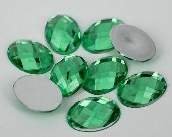 125pcs Green Oval Shape Acrylic Flatback Rhinestones 8x10mm - Decoden, DIY Phone Case, Scrapbooking