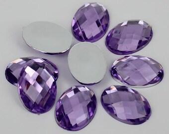 125pcs Purple Oval Shape Acrylic Flatback Rhinestones 8x10mm - Decoden, DIY Phone Case, Scrapbooking