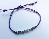 Purple waxed cotton cord bracelet, hearts