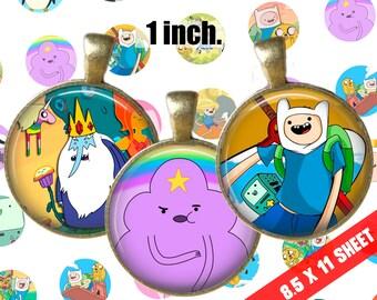 "Digital Collage Adventure Time Cartoon Network 1"" inch 25mm Bottlecap Printable Image Download for pendants magnets cupcake"