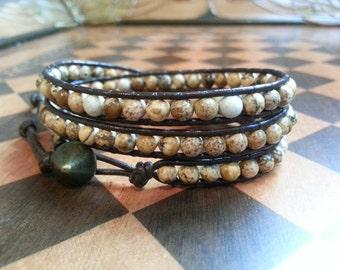 Triple wrap leather and picture jasper bracelet