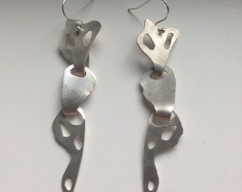 silver sectioned earrings