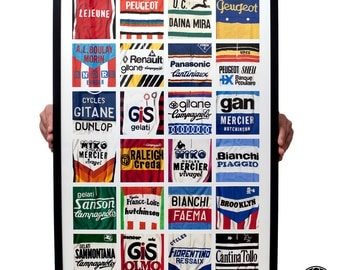 Vintage cycling jersey details poster print