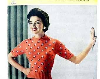 Vintage Mid-century 1950's Twinprufe Knitting Book No. 191 featuring 9 Easy to Knit Jumpers