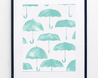 Umbrella Watercolor Print - SMc. Originals, watercolor painting, modern, whimsy, nursery decor, nursery art, nursery print, decor