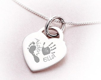 Engraved Sterling Silver Handprint / Footprint Necklace
