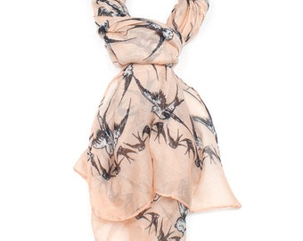 Peach Swallow Tattoo Print Scarf