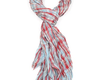 Blue & Red Check Print Crinkle Scarf