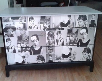 SOLD want it vintage Up Cycled Chest of Drawers in the Design of Audrey Hepburn NOW SOLD