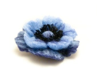 Blue Poppy Felt Brooch, Poppy Flower Pin, Wool Felt Jewelry, Felted Flower Brooch