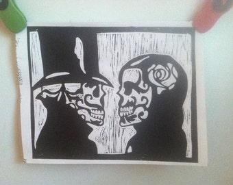 Day of the Dead couple linoleum print