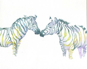 Zebra Watercolor PRINT- 8 x 10 Zebra Watercolour, Animal Art