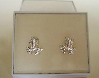 One Pair Sterling Silver Frog Stud Earrings