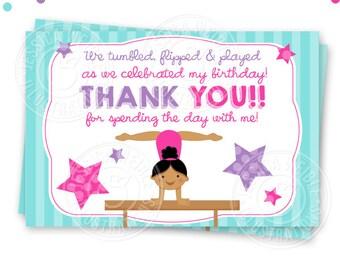 Dark Girls Gymnastics Printable Thank You, 4X6 Thank You Note, Gymnastics Party Printable Thank You, Gymnast Thank You Card
