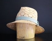 Honeycomb Straw Fedora with Vintage Silk Band, One of a Kind, Handmade
