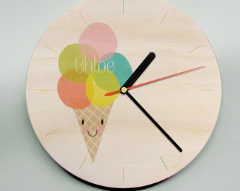 Unique Personalised Childs Wall Clock / Cute Kids Clock / Wooden Wall Clock