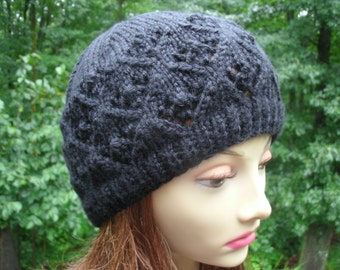 Black Lace Original Design Hand Knit Hat