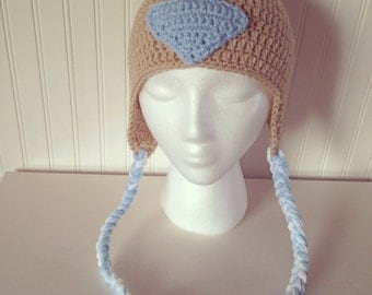 Avatar Aang Hat, crochet avatar hat, earflap hat, the last airbender