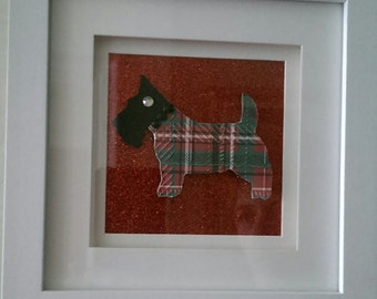 Red Tartan Scottie Dog Decorative Frame