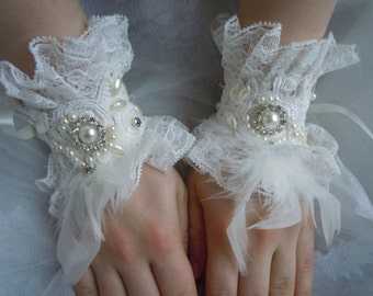 Bridal Gloves/ Bridal Cuffs/ Wedding Cuffs, Pearl Lace Gloves, Wedding gloves,cuffs ivory lace cuffs