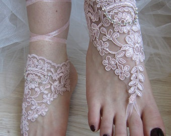 Pink Lace Barefoot Sandals, Bridal sandals, Beach Anklet, Wedding Anklet