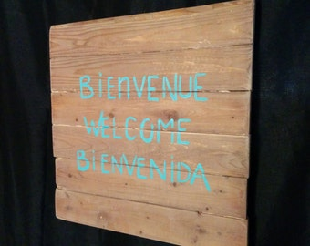 "Wall decor / Wall decor / Latte Wood / Wood ""Welcome"""