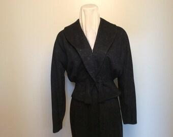 1950s black wool suit, size S