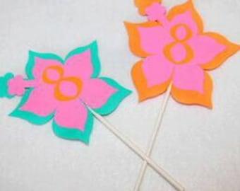 Luau Theme Cupcake Toppers,Hibiscus Cupcake Topper,Hawaiian CupcakeToppers, Luau Party,Hawaiian Party Decor,Hibiscus Theme,Luau, Hawaiian