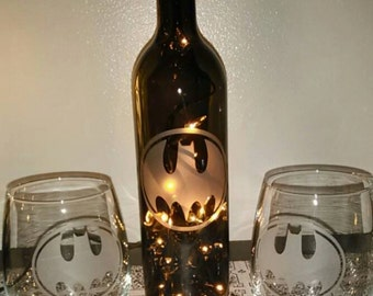 Batman Party Pack - Hand Etched Wine Bottle Lamp & 2 wine glasses