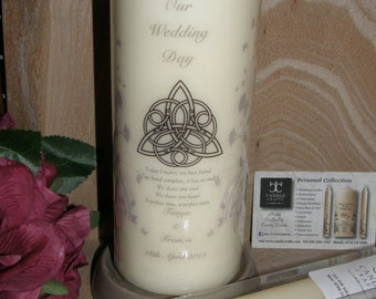Personalised Irish wedding church unity set, candles, Celtic Irish Wedding sign with ivy