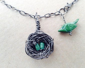 Mama Bird With Nest Necklace