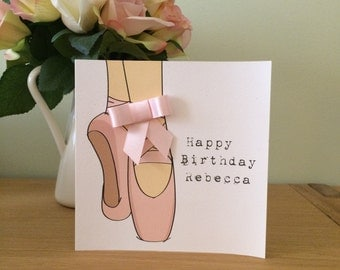 Personalised Ballet Pointe Shoes Happy Birthday Card