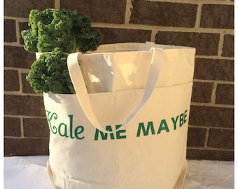 Canvas Tote Bag* Kale Me Maybe * Large Canvas Tote Bag* Large Tote Bag* Canvas Tote Bag With Pockets* Market Tote Bag* Grocery Tote Bag