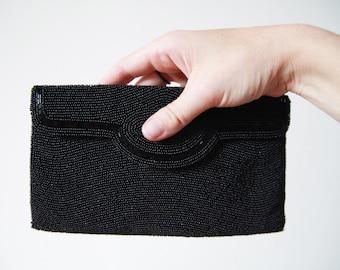 Black Seed Bead Clutch Bag, Beaded Purse, Italian Design (Mint)
