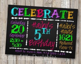 Neon Chalkboard Birthday Invitation *Custom DIGITAL FILE*