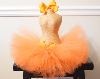 Orange Infant Baby Toddler Fluffy Tutu with Two Boutique Bows