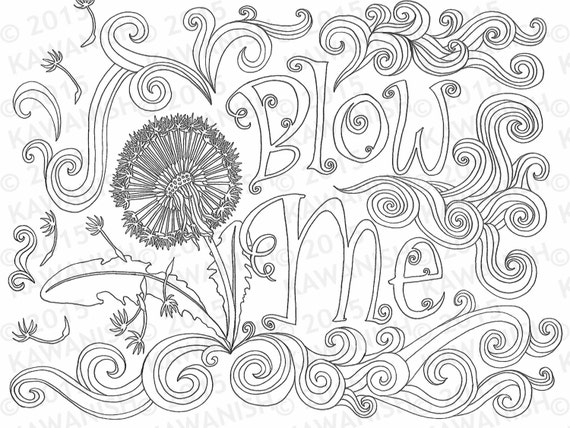 blow me adult coloring page dandelion flower gift wall art