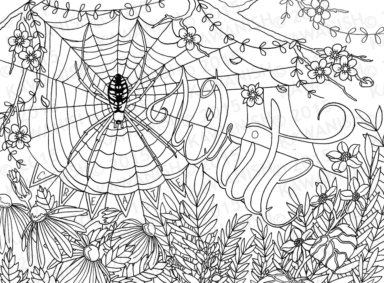 creative writing spider flower coloring page gift wall