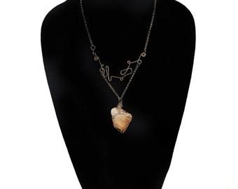 Handmade Raw Crystal Wire Wrap Necklace