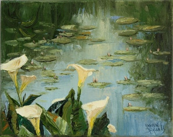 Original Oil Painting - Lilies on a Pond Palette knife painting