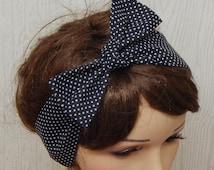 Pin Up Hair Scarf, Cotton Headband, Black and White Hair Band,  Polka Dot Retro Headbands