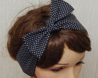Pin Up Hair Scarf, Cotton Headband, Black and White Hair Band,  Polka Dot Retro Headbands