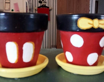 Mickey and Minnie Inspired Terra Cotta Pots