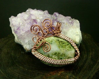Wire Wrapped Natural Mossy Green Agate Stone Pendant, Bronze, Necklace