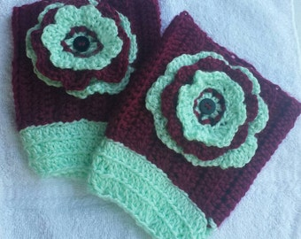 New and Unique Handmade leg warmers, boot toppers with removable flowers